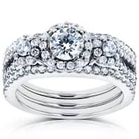 Annello by Kobelli 14k White Gold 1 2/5ct TDW Three Stone Diamond 3-Piece Bridal Rings Set