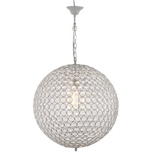 Provence White Chandelier with White Iron Chain