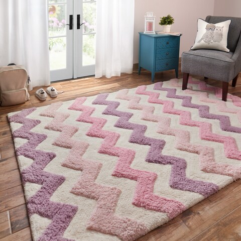 Hand-tufted Riley Pink/ Purple Chevron Shag Rug - 3'0 x 5'0