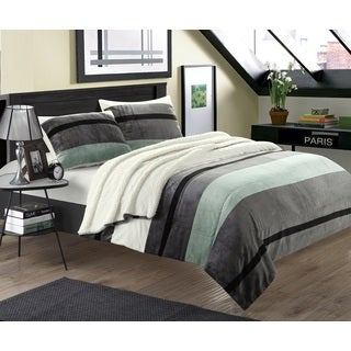 Chic Home Maryanne 7-Piece Plush Microsuede Printed Stripe Sherpa Blanket