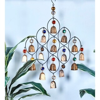 Traditional 27 x 18 Inch Jeweled Iron Bell Wind Chime by Studio 350