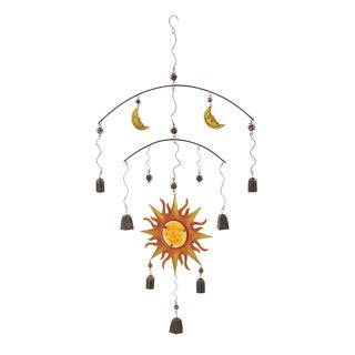 Metal Glass Sun and Moon Wind Chime