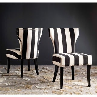 Safavieh En Vogue Dining Matty Black And White Striped Chairs Set Of 2