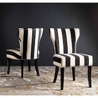 Silver Orchid Haver Black and White Striped Dining Chairs (Set of 2)