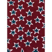 Hand-tufted Riley Red/ Navy Rock Star Shag Rug (3'0 x 5'0)