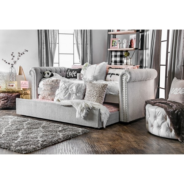 47271e701ac Furniture of America Nellie Tuxedo Style Tufted Flax Daybed with Twin  Trundle