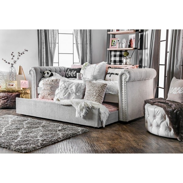 Overstock Daybeds With Trundle : Furniture of america nellie tuxedo style tufted flax