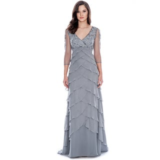 Decode 1.8 Grey 3/4 Sleeve Tiered Dress
