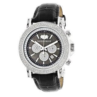 Luxurman Men's 1/4ct TDW Diamond Large Face Chronograph Watch