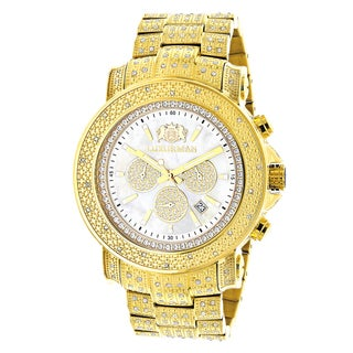 Luxurman Men's Yellow Goldplated Large Iced Out 2ct TDW Diamond Watch