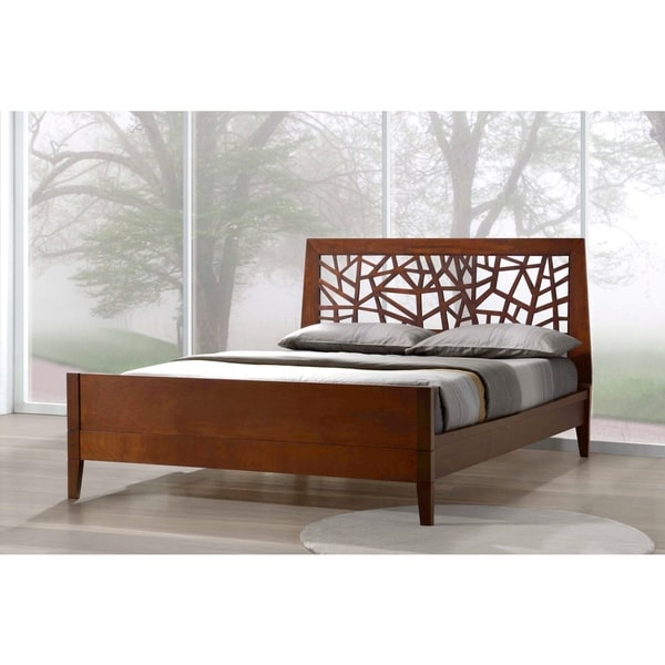 baxton studio jennifer tree branch inspired modern and contemporary walnut finishing solid wood platform base bed