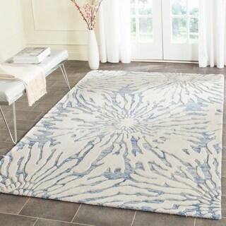 Safavieh Handmade Bella Dark Blue/ Ivory Wool Rug (4' x 6')