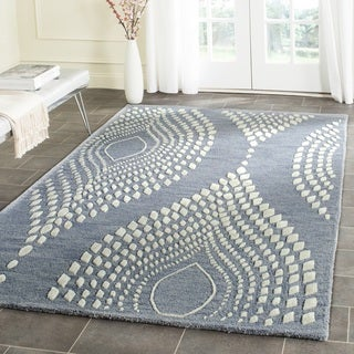 Safavieh Handmade Bella Blue/ Ivory Wool Rug (5' Square)