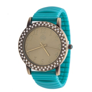 WallFlower Ladies Collection CZ Ring Case with Turquoise Rubber Strap Watch