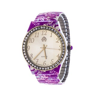 WallFlower Ladies Collection CZ Ring Case with Purple Alloy Strap Watch