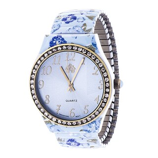 Walflower Ladies Collection with CZ ring Case / Blue Alloy Strap Watch