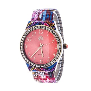 Walflower Ladies Collection with CZ ring Case / Blue & Pink Alloy Strap Watch