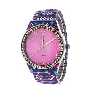 Walflower Ladies Collection with CZ ring Case / Purple & Blue Alloy Strap Watch