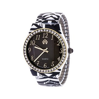 WallFlower Ladies Collection CZ Ring Case with Black and White Alloy Strap Watch