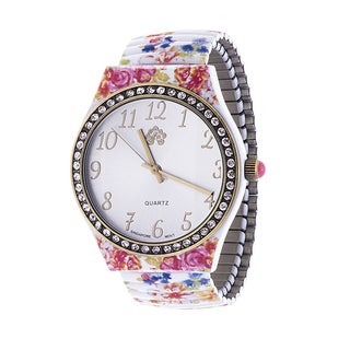 WallFlower Ladies Collection CZ Ring Case with White and Blue Alloy Strap Watch