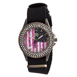 WallFlower Ladies Collection CZ Ring Case with Black Nylon Strap Watch