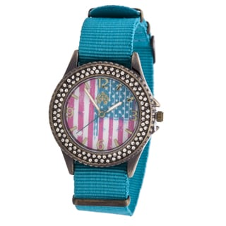 WallFlower Ladies Collection CZ Ring Case with Blue Nylon Strap Watch