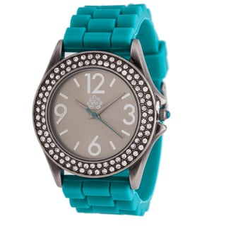 Walflower Ladies Collection with CZ ring Case / Turquoise Rubber Strap Watch