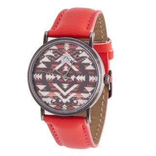 Walflower Ladies Collection with AZTEC Design Dial / Red Leather Strap Watch