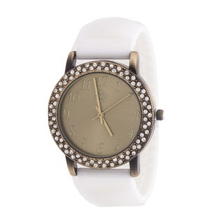 WallFlower Ladies Collection CZ Ring Case with White Rubber Strap Watch