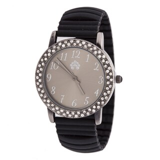 WallFlower Ladies Collection CZ Ring Case with Black Rubber Strap Watch