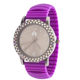 Walflower Ladies Collection with CZ ring Case / Purple Rubber Strap Watch