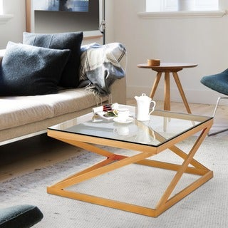 Furniture of America Mayla Contemporary Metallic Gold Glass Top Coffee Table