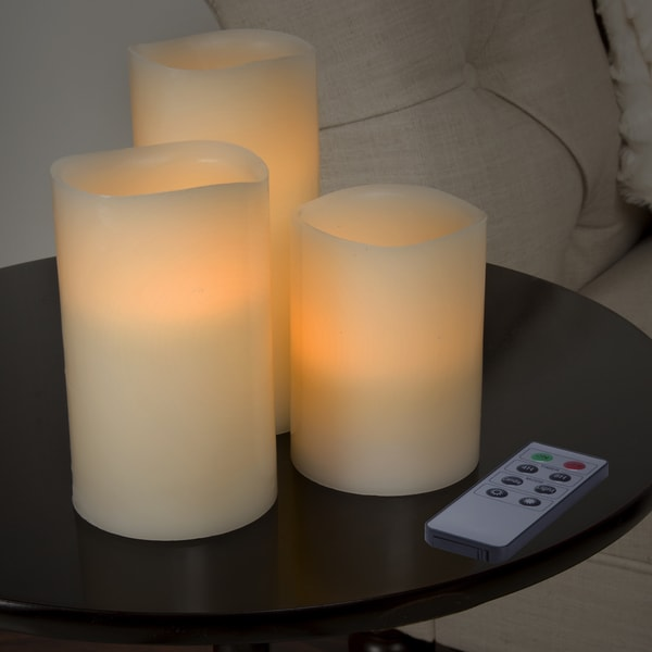 Lavish Home 3 Piece LED Flameless Candle Set with Remote