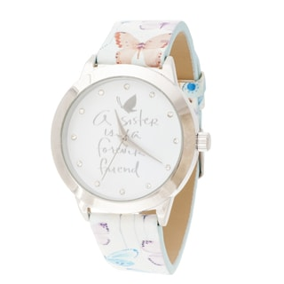 Kathy Davis Scatter Joy Silver Case / White Floral Dial & Leather Strap Watch