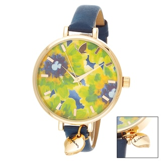 Kathy Davis Scatter Joy Gold Case Floral Dial / Navy Blue Leather Strap Watch