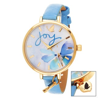 Kathy Davis Scatter Joy Gold Case Joy Floral Dial / Blue Leather Strap Watch