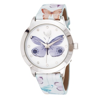 Kathy Davis Scatter Joy Silver Case / Purple Floral Dial & Strap Watch