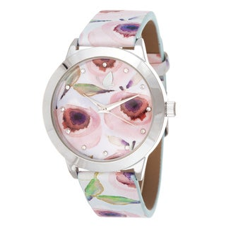 Kathy Davis Scatter Joy Silver Case / Red Floral Dial & Strap Watch