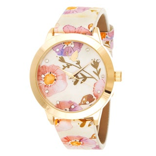 Kathy Davis Scatter Joy Gold Case / Pink Floral Dial & Strap Watch