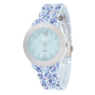 Kathy Davis Scatter Joy Silver Case / Blue Flower Strap Watch