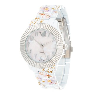 Kathy Davis Scatter Joy Silver Case / White Flower Strap Watch