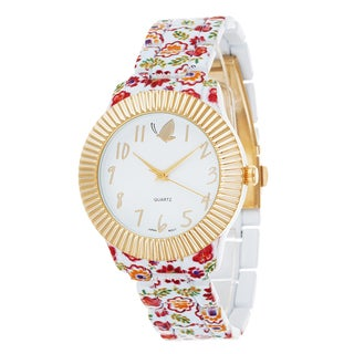 Kathy Davis Scatter Joy Gold Case / Red Flower Strap Watch