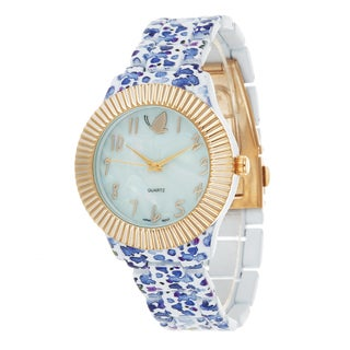Kathy Davis Scatter Joy Gold Case / Blue Flower Strap Watch