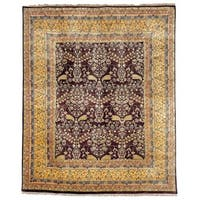 Safavieh Hand-knotted Ganges River Dark Brown/ Gold Wool Rug (9' x 12')