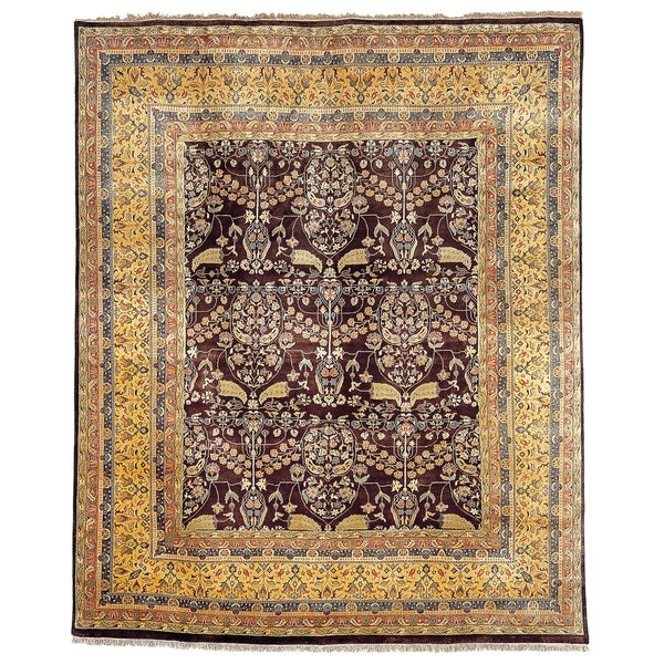 Safavieh Hand-knotted Ganges River Dark Brown/ Gold Wool Rug - 9' x 12'
