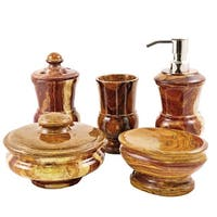 Nature Home Decor Mediterranean Collection Multi Brown Onyx 5-Piece Bathroom and Spa  Accessory Set