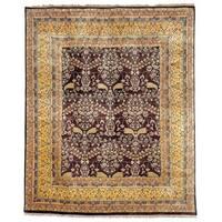 Safavieh Hand-knotted Ganges River Dark Brown/ Gold Wool Rug - 6' x 9'