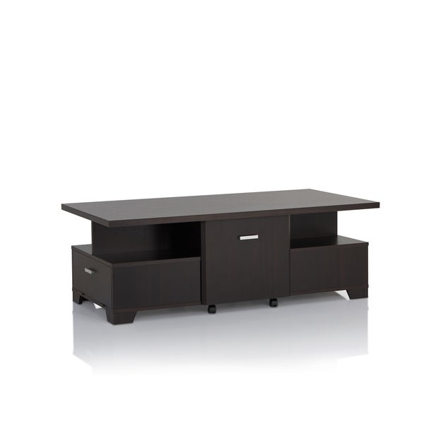 Furniture of America Mikoto Contemporary Espresso Coffee Table with Removable Storage