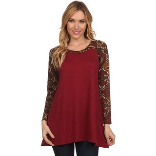 MOA Collection Women's Top with Geometric Print Sleeves