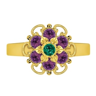 Lucia Costin Sterling Silver Green/ Violet Crystal Center Flower Ring